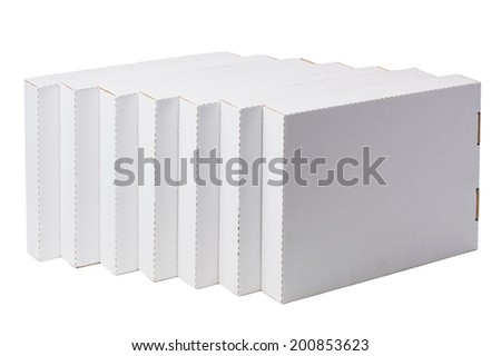 White cardboard  boxes isolated on white - stock photo