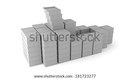 White cardboard boxes lined with boat-shaped on white background - stock photo