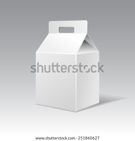 White cardboard gift rectangular box with handle. Raster packaging template. - stock photo