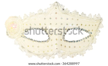 White carnival mask decorations isolated background front view - stock photo