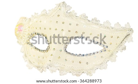 White carnival mask decorations isolated background side view - stock photo