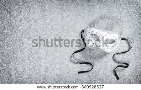 White carnival mask. Holidays background. Mardi gras - stock photo