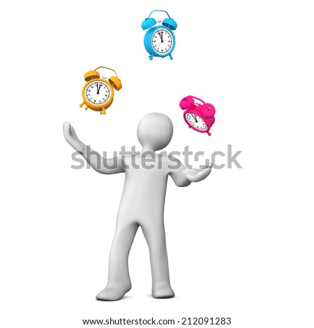 White cartoon character juggles with alarmer on the white background. - stock photo