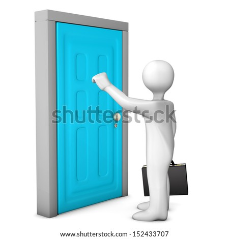 White cartoon character knocks on the frontdoor. White background. - stock photo