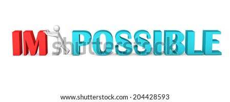 White cartoon character makes impossible possible. White background. - stock photo