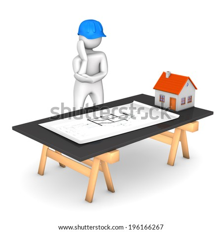 White cartoon character with blue helmet and construction plan. White background. - stock photo