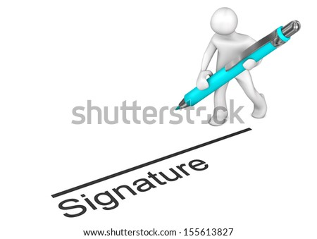 White cartoon character with blue pen and text signature. - stock photo