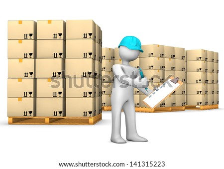 White cartoon character with clipboard and pallets. White background. - stock photo