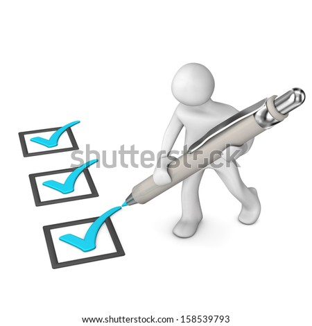 White cartoon character with cyan checklist and ballpen. White background. - stock photo