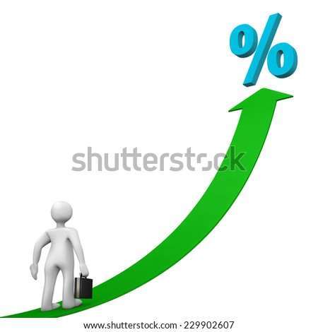 White cartoon character with cyan symbol of percent and green arrow. - stock photo