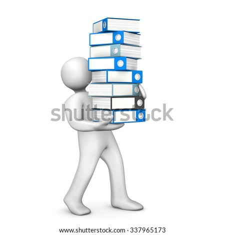 White cartoon character with folders on the white. 3d illustration.  - stock photo