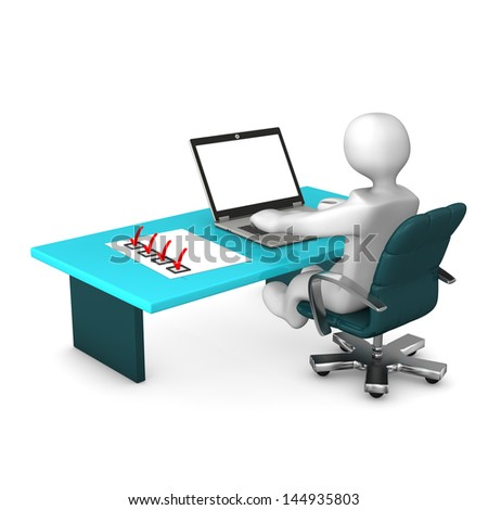 White cartoon character with laptop and checklist on table. - stock photo