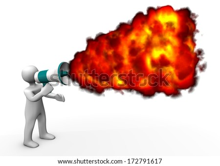 White cartoon character with megaphone and fire. White background. - stock photo