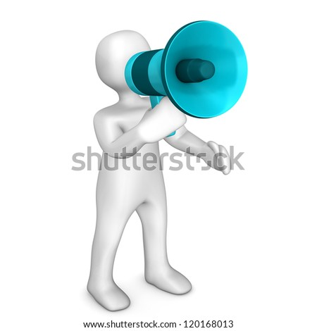 White cartoon character with megaphone. White background. - stock photo