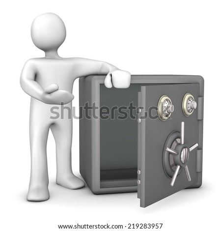 White cartoon character with opened and empty safe. White background. - stock photo