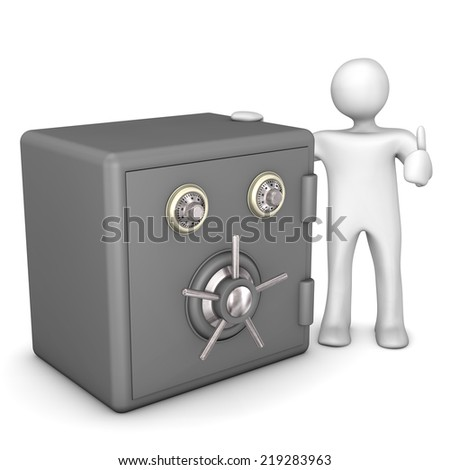 White cartoon character with safe. White background. - stock photo