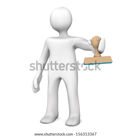 White cartoon character with stamp. White background. - stock photo