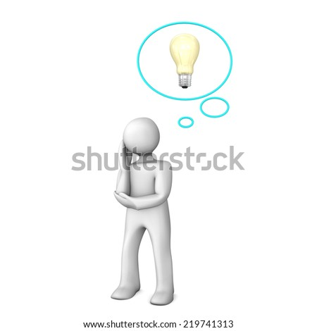 White cartoon character with thought bubble and bulb. - stock photo
