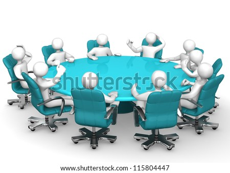 White cartoon characters behind a round conference table. - stock photo