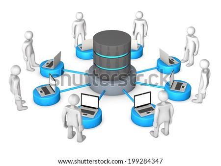 White cartoon characters connected with database. White background. - stock photo