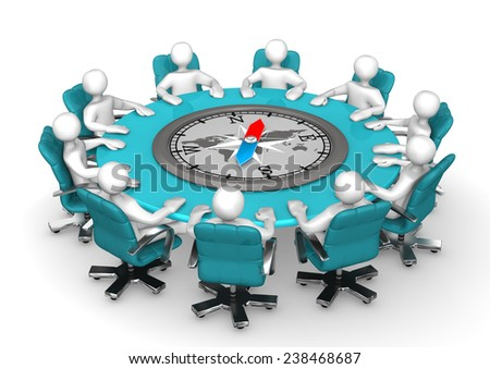 White cartoon characters on round table with compass. - stock photo