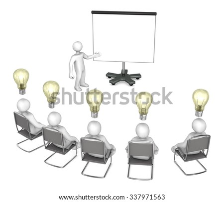 White cartoon characters with flipchart and bulbs on the white. - stock photo