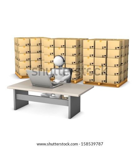 White cartoon characters with laptop, headset and pallets on the white background. - stock photo