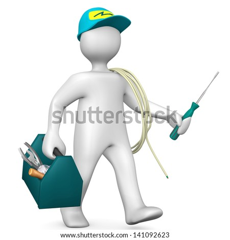 White cartoon electrician with toolbox and cord. - stock photo