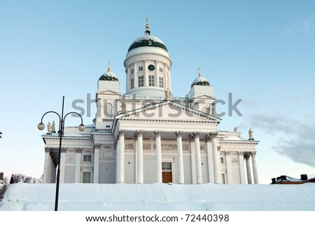 White cathedral in Helsinki,  Finland - stock photo