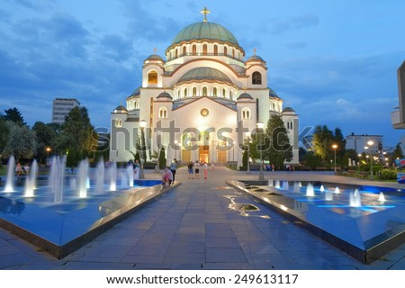 white Cathedral of St. Sava in Belgrade at evening, Serbia - stock photo