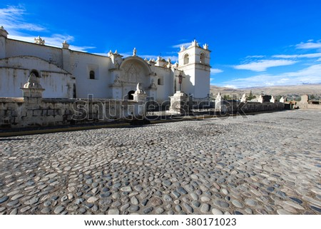 White Catholic church in rural Peru