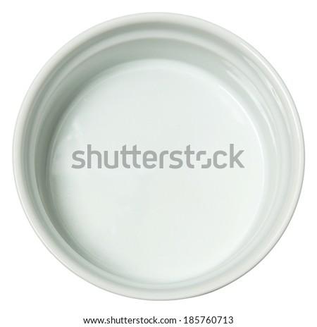 White Ceramic Baking Dish over White. - stock photo