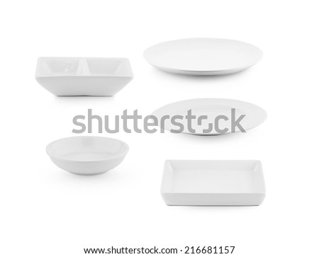White ceramic bowl and plate on white background - stock photo