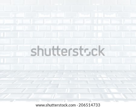 White ceramic brick tile room,background - stock photo