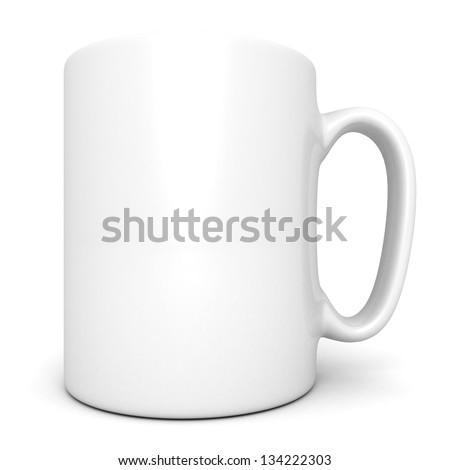 White ceramic coffee mug on white - stock photo