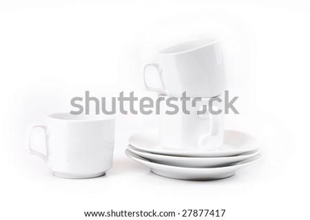 white ceramic cup - stock photo