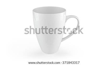 white ceramic cup or mug with clipping path - stock photo