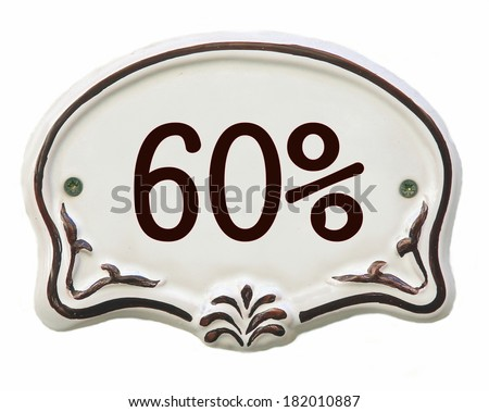White ceramic decorated tile showing 60 %  discount  - stock photo