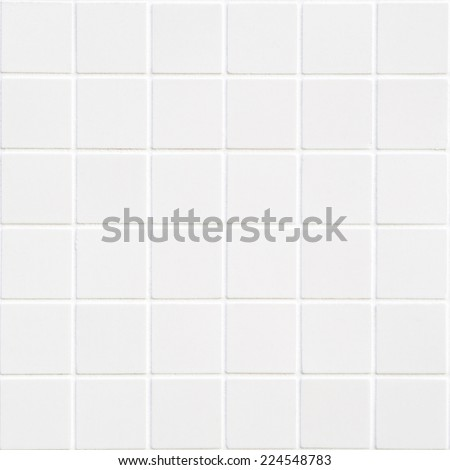 White ceramic mosaic tile background with 36 squares in square form - stock photo