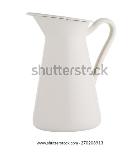 White ceramic pitcher isolated on white background. - stock photo