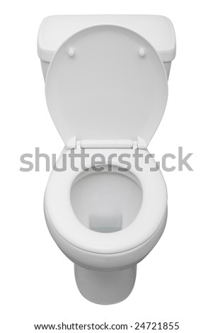 White ceramic toilet isolated on a white background with clipping path. - stock photo
