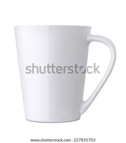 White ceramics mug isolated - stock photo