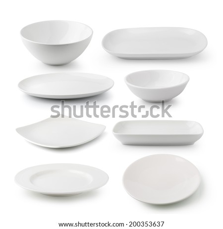 white ceramics plate and bowl isolated on white background - stock photo