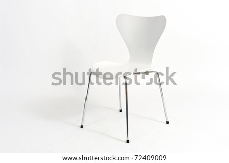 White chair isolated on white background. - stock photo