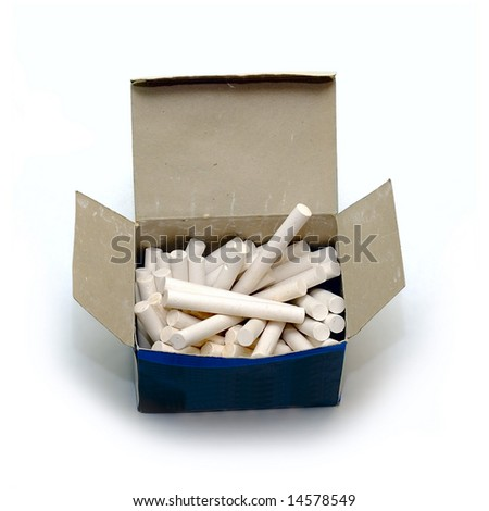 White chalk in box isolated on white - stock photo