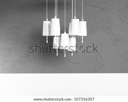 white chandelier  on a gray background - stock photo