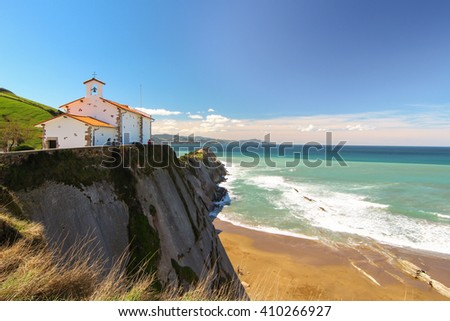 White chapel by the sea. Basque Country.  - stock photo