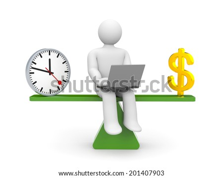 White character between time and money - stock photo