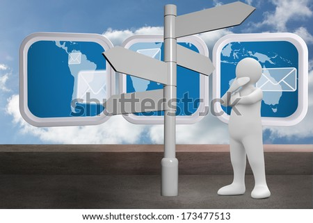 White character choosing direction against balcony and cloudy sky - stock photo