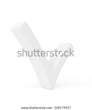 white check mark. 3d render on white background. - stock photo